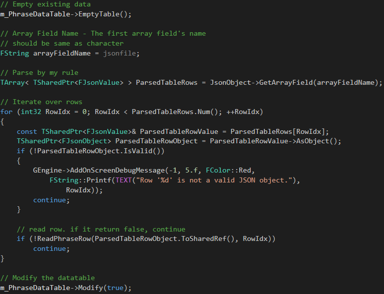 Json based Datatable creation in UE4